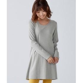綿100%クルーネックチュニックTシャツ (大きいサイズレディース)チュニック,plus size