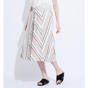 【コレックス/collex】 綿麻ストライプ切替スカート