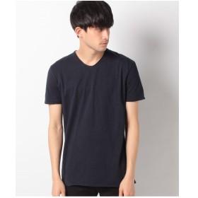 SISLEY コットンVネック半袖Tシャツ・カットソー(ネイビー)【返品不可商品】