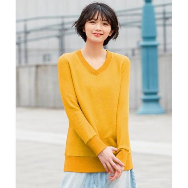肌触り柔らかストレッチVネックスウェットプルオーバー (大きいサイズレディース)plus size sweatshirts, 衣, 衛衣