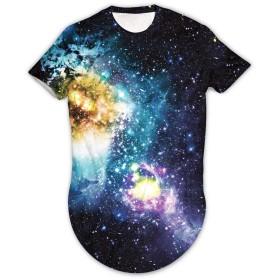 Pizoff(ピゾフ) メンズ Tシャツ 半袖 星空柄 ブリント 大きいサイズ おしゃれ 原宿系 ストリート系 贈り物 お揃い 夏AM088-16-L
