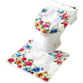 ジェンヌ 洋式トイレ2点セット 足元マット&洗浄フタカバー (1セット)