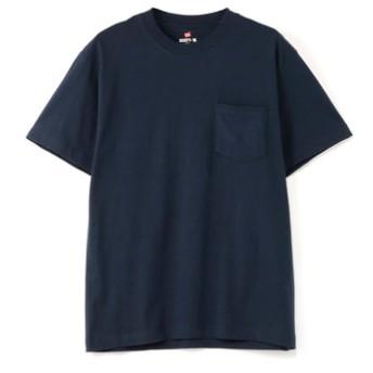 HANES ビーフィーポケットTシャツ メンズ ネイビー