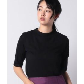 【30%OFF】 プチ オンフルール テレコボーダーモックネックTシャツ レディース ブラック L 【Petit Honfleur】 【セール開催中】