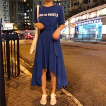 レディース 半袖Tシャツドレス カジュアル ウエストマーク フリル 春夏 デート 10代 20代