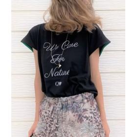 (Q/キュー)ecoロゴてろりんTシャツ/レディース ブラック 送料無料