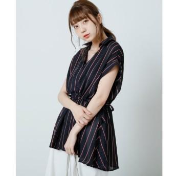 【レイカズン/RAY CASSIN】 ストライプ柄サイドドロストシャツ