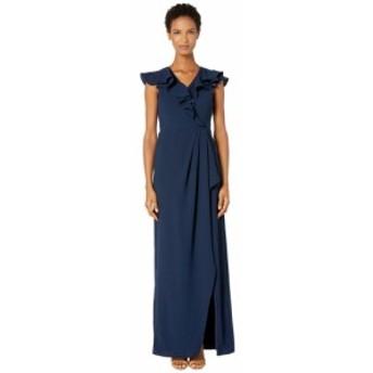 モニーク ルイリエ ML Monique Lhuillier レディース ワンピース ワンピース・ドレス Crepe Full-Length Ruffled Wrap Dress Navy
