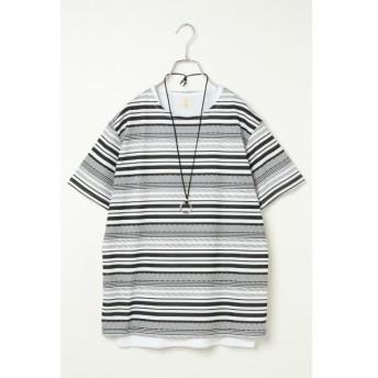 【ヴァンスシェアスタイル/VENCE share style】 アクセ付き総柄Tシャツアンサンブル