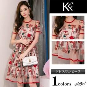 ワンピース レディース 40代 きれいめ 50代 30代 上品 ドレス シースルー 刺繍 シフォン