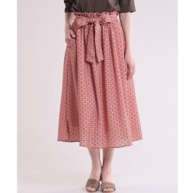【スーペリアクローゼット/SUPERIOR CLOSET】 リボンベルト付き小紋柄プリントスカート