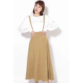 【ローズバッド/ROSEBUD】 サスペンダー付きフレアスカート