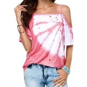 maweisong 女性オフワンショルダーコールドショルダースパゲッティストラップTシャツブラウストップ Pink XXS