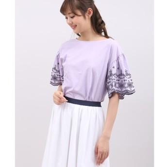 【マルシェ ド クリアインプレッション/MARCHE de CLEAR IMPRESSION】 《WEB限定大きいサイズ》袖フレア刺繍カットソー