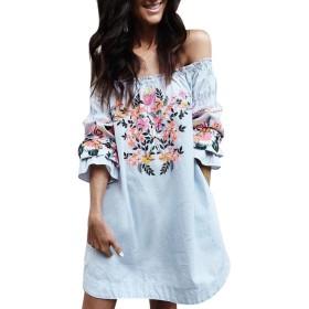三番目の店 2018 人気 ホットセール ファッション 女性 スカート 花 ドレス レディース サマー ビーチ パーティー オフショルダー ミニドレス