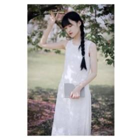 ワンピース ロング丈 ノースリーブ 20代 結婚式 春夏 白 Iライン 花刺繍 スリット ラウンドネック 大人可愛い きれいめ フェミニン