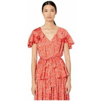 モニーク ルイリエ ML Monique Lhuillier レディース ワンピース ワンピース・ドレス Printed Top with Ruffled Sleeves Cayenne Multi