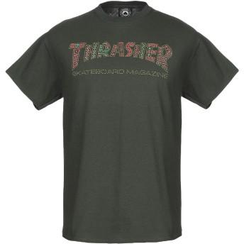 《9/20まで! 限定セール開催中》THRASHER メンズ T シャツ ダークグリーン S コットン 100%