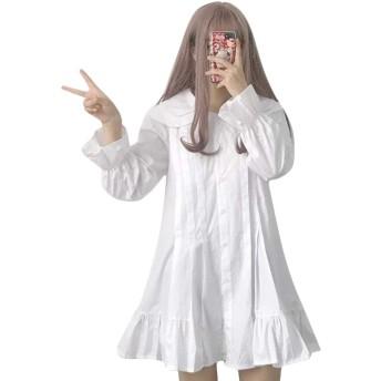 Bublanwo はる 日系 長袖 癒され系 エレガント ワンピース レディース ロリータ ドレス ファッション お姫様 膝丈スカート フリルスカート フレアドレス 人気 綿麻 スカート ふんわり 個性的 学院風 着痩せ 体型カバー (ホワイト)