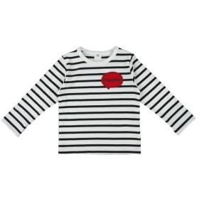 [キッズ]シンプルフリー Tシャツ ワッペン 長袖 ブラック ベビー・キッズウェア キッズ(100~120cm) トップス(男児) (89)