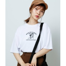 (Ray Cassin/レイカズン)女の子刺繍Tシャツ/レディース オフ白