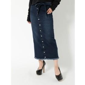 【リゼクシー/RESEXXY】 センターボタンロングデニムスカート
