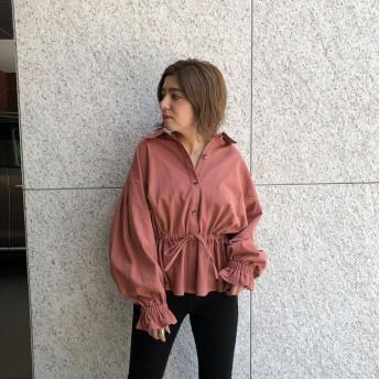 アンビー ENVYM ウエストギャザーシャツ (PINK)