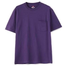 HANES 「BEEFY-T」 無地クルーネックポケットTシャツ メンズ パープル