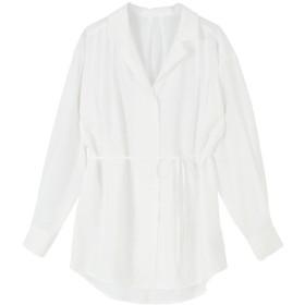 ティティベイト titivate ウエストリボンゆるシャツ/ブラウス (ホワイト)