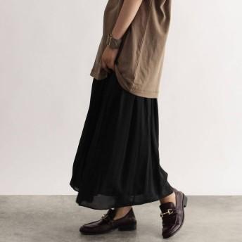 オゾック OZOC カラー消しプリーツフレアスカート (ブラック)