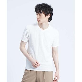 アバハウス チェック柄 ジャガード 半袖Tシャツ メンズ ホワイト 48 【ABAHOUSE】