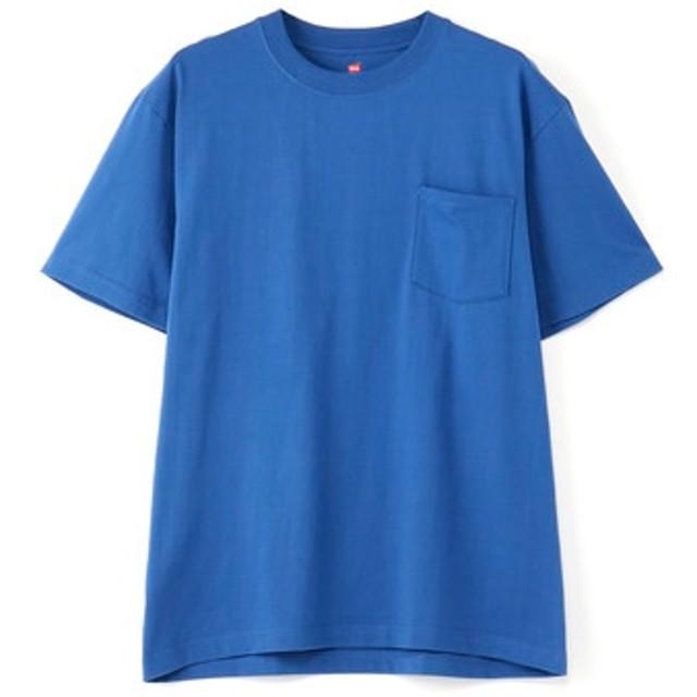 HANES 「BEEFY-T」 無地クルーネックポケットTシャツ メンズ ロイヤルブルー