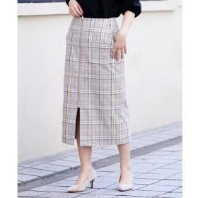 【ペルルペッシュ/Perle Peche】 フロントジップチェックタイトスカート