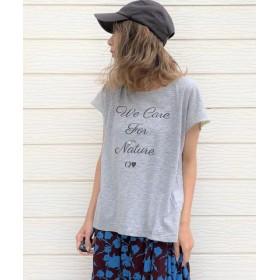 (Q/キュー)ecoロゴてろりんTシャツ/レディース グレー 送料無料