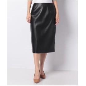 レリアン フェイクレザータイトスカート(ブラック)
