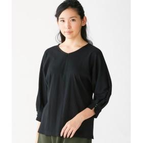 ランダムリブ素材。7分袖ドルマンスリーブカットソー (大きいサイズレディース)Tシャツ・カットソー