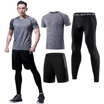 コンプレッションウェア セット メンズ トレーニング スポーツウェア 長袖 半袖 ハーフパンツ タイツ 吸汗速乾 3点セット メンズ ジャージ 上下セット 麻グレー Heather Grey-3P-XL