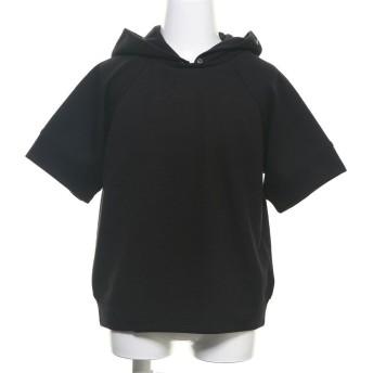 コムサイズム COMME CA ISM フード付き半袖Tシャツ (ブラック)