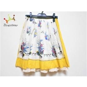 ロイスクレヨン Lois CRAYON スカート サイズM レディース 白×マルチ 新着 20190724