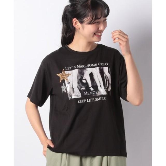 (GeeRa/ジーラ)ゆるシルエットデザインTシャツ/レディース ホシブラック