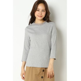 【イッカ/ikka】 レースハイネックリブTシャツ7分袖
