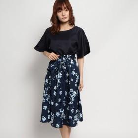 ジーラ GeeRA 【2点セット】前後2WAYブラウス&フレアースカート (ネイビー×ネイビー系花柄)