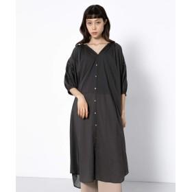 [センスオブプレイス] ワンピース ドレス ギャザーシャツワンピース(7分袖) レディース CHARCOAL FREE