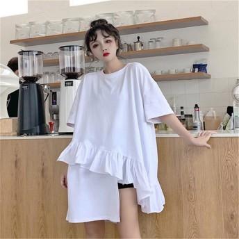 夏新規商品 爽やかお洒落ガール 韓国ファッション 2019 不規則 ゆったり 半袖 Tシャツ 全2色 春夏 新作
