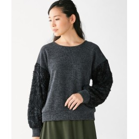 袖モチーフレース使いカットソー (大きいサイズレディース)Tシャツ・カットソー