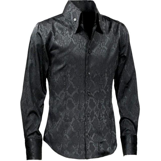 サテンシャツ ドレスシャツ スキッパー パイソン柄 蛇 日本製 ボタンダウン スリム 無地 パーティー メンズ ブラック黒 191250 L