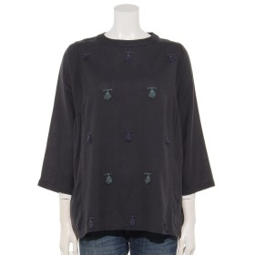 64%OFF FANAKA (ファナカ) フリンジ刺繍ブラウス チャコール