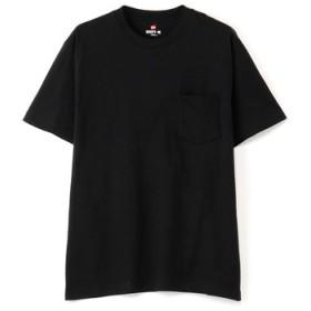 HANES 「BEEFY-T」 無地クルーネックポケットTシャツ メンズ ブラック