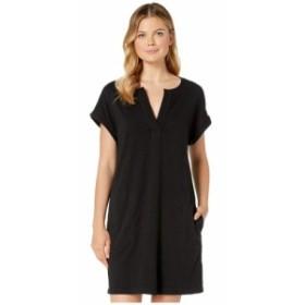 モドオードック Mod-o-doc レディース ワンピース ワンピース・ドレス Heavier Slub Notch Neck Dress with Gauze Placket Black