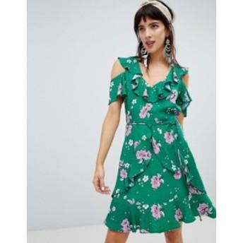 リバーアイランド レディース ワンピース トップス River Island dress with frill front in floral print Green bright print